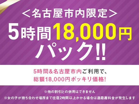 名古屋市内限定 5時間18,000円パック!!